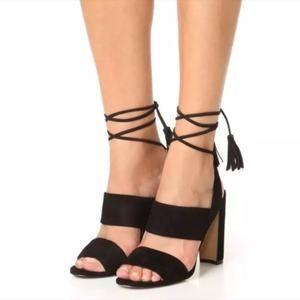 Madewell Octavia Tassel Sandal Suede Block Heels